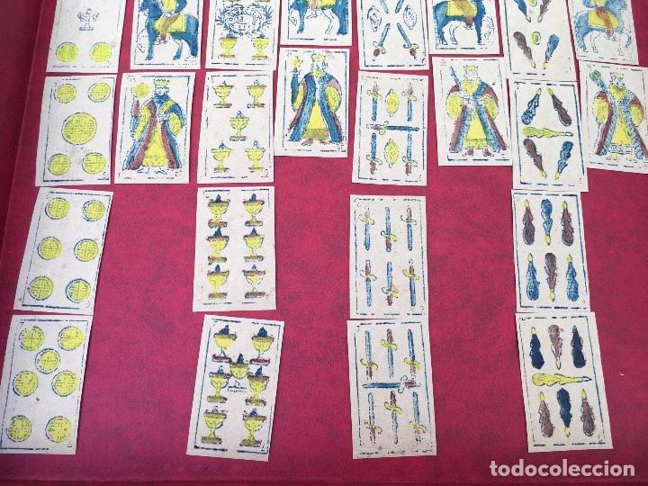 Barajas de cartas: BARAJA 40 NAIPES MUY RARA HEMISFERIOS CORONADOS PINILLOS DE VALLEJO 1845 - Foto 4 - 62615056