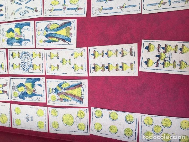 Barajas de cartas: BARAJA 40 NAIPES MUY RARA HEMISFERIOS CORONADOS PINILLOS DE VALLEJO 1845 - Foto 6 - 62615056