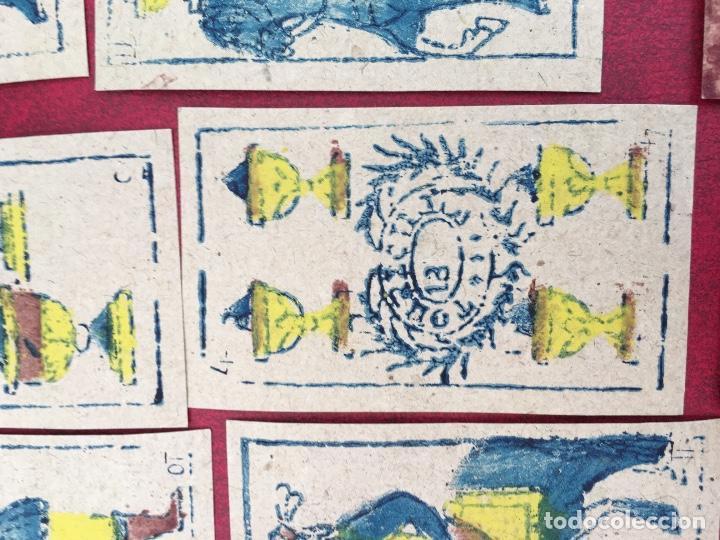 Barajas de cartas: BARAJA 40 NAIPES MUY RARA HEMISFERIOS CORONADOS PINILLOS DE VALLEJO 1845 - Foto 8 - 62615056