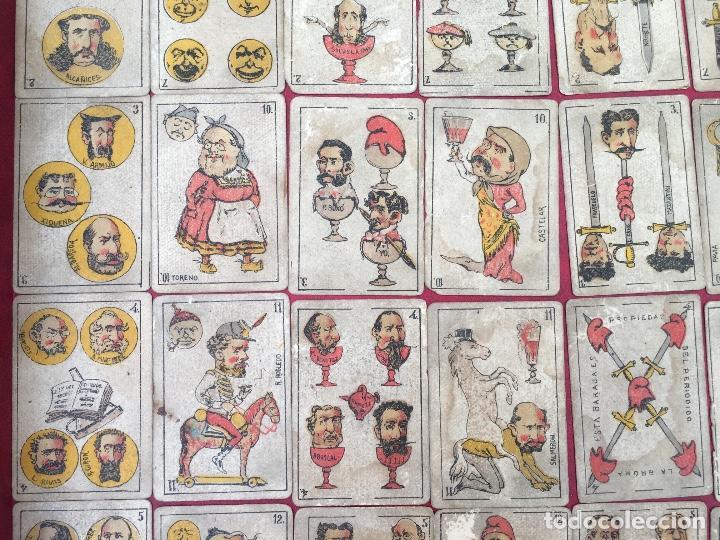 Barajas de cartas: BARAJAS POLÍTICOS PERIÓDICO LA BROMA 40 NAIPES 1875 - Foto 2 - 62619964