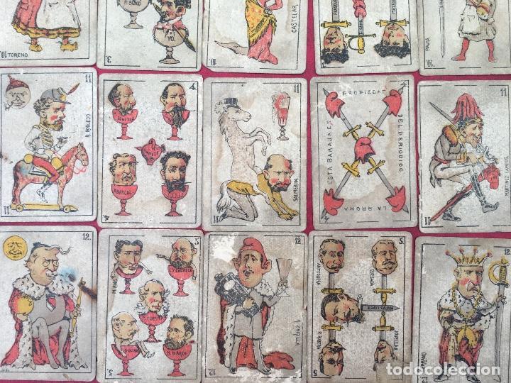 Barajas de cartas: BARAJAS POLÍTICOS PERIÓDICO LA BROMA 40 NAIPES 1875 - Foto 4 - 62619964