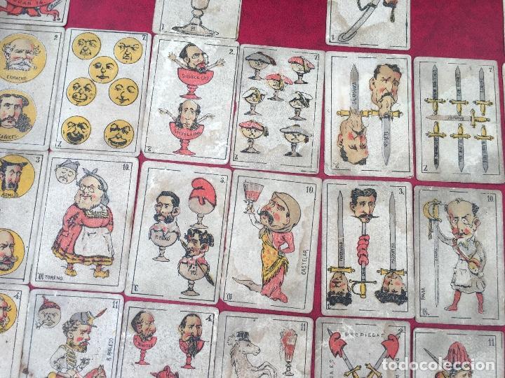 Barajas de cartas: BARAJAS POLÍTICOS PERIÓDICO LA BROMA 40 NAIPES 1875 - Foto 5 - 62619964