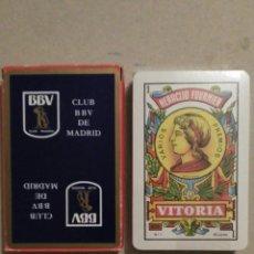 Barajas de cartas: BARAJA DE CARTAS FOURNIER PUBLICIDAD BANCO BBV (CLUB BBV DE MADRID) 40 CARTAS NAIPES PRECINTADA. Lote 67546393