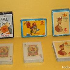 Barajas de cartas: LOTE DE TRES BARAJAS DE CARTAS POKER ESPAÑOL PUBLICITARIAS CAJA POSTAL. Lote 68862901