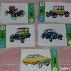 Barajas de cartas: LOTE 5 X CARTAS COCHES FORD - CARTAS DE LA BARAJA EL JUEGO DE LOS COCHES. Lote 73719931