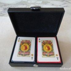 Barajas de cartas: ESTUCHE CON DOS BARAJAS DE CARTAS ESPAÑOLAS.-N133A. Lote 76907875
