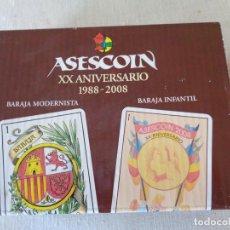 Barajas de cartas: DOS BARAJAS DE CARTAS ESPAÑOLA ASESCOIN XX ANIVERSARIO.-N133. Lote 76908943