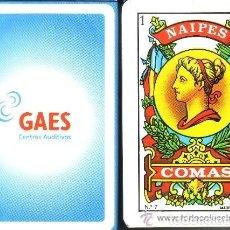 Barajas de cartas: -66564 BARAJA ESPAÑOLA CENTROS AUDITIVOS GAES, NAIPES COMAS, PUBLICITARIA. Lote 78532021