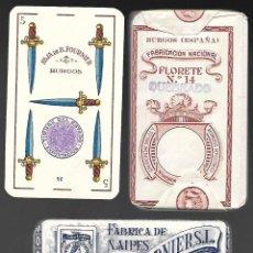 Barajas de cartas: BARAJA HIJA DE B. FOURNIER, FELIPE V, FLORETE Nº 14 QUEBRADO, TIMBRE MORADO DE 1939, Nº 90 EN 5 ESP.. Lote 81553848