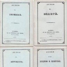 Barajas de cartas: 4 LIBROS DE JUEGOS: ECARTÉ, IMPERIAL, REVESINO Y PIQUES O CIENTOS. FACSÍMILES DE LAS EDS. DE 1838. Lote 81679100