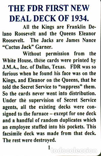 Barajas de cartas: BARAJA ROOSEVELT FDR NEW DEAL DECK OF 1934, USA, NUEVA, PRECINTADA - Foto 12 - 83369030
