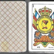 Barajas de cartas: BARAJA NAIPES CASTAÑE Nº 5, DE 1984, PRECINTADA, 40 CARTAS + 2 COMODINES. REVERSO MARRON. Lote 86600460
