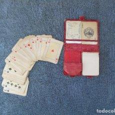 Barajas de cartas: ANTIGUO ESTUCHE DE PIEL, CON JUEGO DE CARTAS PEQUEÑAS DE POKER. HERACLIO FOURNIER.VITORIA.. Lote 88126680