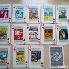 Barajas de cartas: BARAJA DE CARTAS POKER PORTADAS DE EL JUEVES COMPLETA 54 NAIPES 1994. Lote 89516848