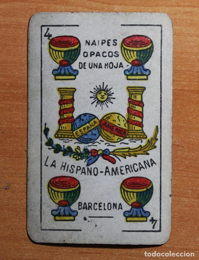Barajas de cartas: ANTIGUA BARAJA NAIPES OPACOS DE UNA HOJA LA HISPANO AMERICANA, COMPLETA 48 CARTAS, USADA - Foto 3 - 90859905