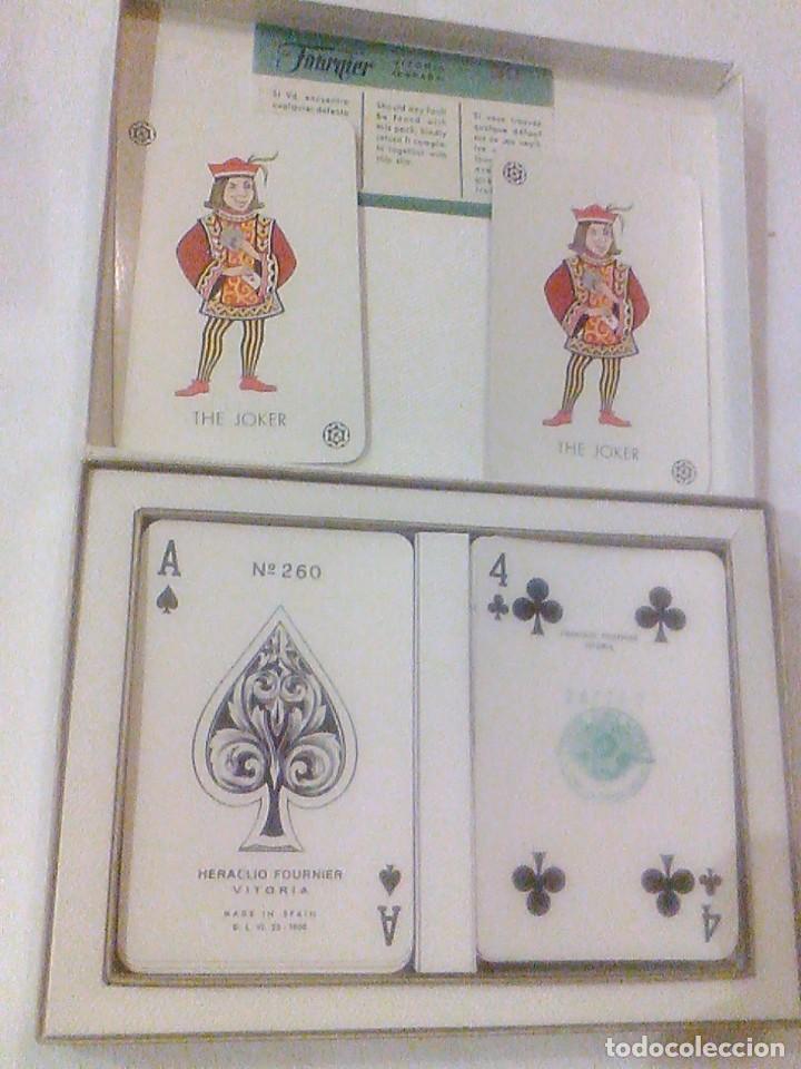 DOS BARAJA CARTAS Nº 260 H FOURNIER VITORIA TIMBRE 5 PTAS BORDE DORADOS CAJA ORIGINAL NAIPES 1960 (Juguetes y Juegos - Cartas y Naipes - Baraja Española)