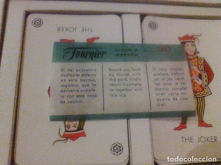Barajas de cartas: DOS BARAJA CARTAS Nº 260 H FOURNIER VITORIA TIMBRE 5 PTAS BORDE DORADOS CAJA ORIGINAL NAIPES 1960 - Foto 5 - 90884525