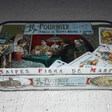 Barajas de cartas: HERACLIO FOURNIER. CAJA METALICA EDICIÓN PREMIUM DE NAIPES FIBRA DE MARFIL.. Lote 95159583