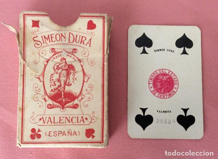 BARAJA PÓKER. SIMEON DURA VALENCIA. 52 NAIPES. COMPLETA. TIMBRE 30 CÉNTIMOS. (Juguetes y Juegos - Cartas y Naipes - Barajas de Póker)