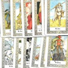Barajas de cartas: MUY RARA BARAJA DE TAROT CON 76 CARTAS FALTA EL ARCANO Nº 14 Y EL 7 DE VARAS. Lote 97508803