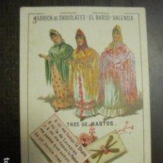 Barajas de cartas: BARAJA CHOCOLATES EL BARCO GRANDE - 3 DE BASTOS - CROMO SUELTO - VER FOTOS - (V-12.109). Lote 99647363