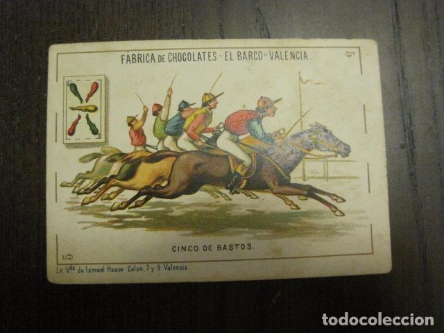 BARAJA CHOCOLATES EL BARCO GRANDE - 5 DE BASTOS - CROMO SUELTO - VER FOTOS - (V-12.111) (Juguetes y Juegos - Cartas y Naipes - Otras Barajas)