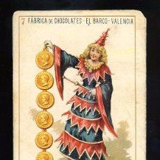Barajas de cartas: BARAJA DE CHOCOLATES EL BARCO, GRANDE: 7 DE OROS. Lote 100357415