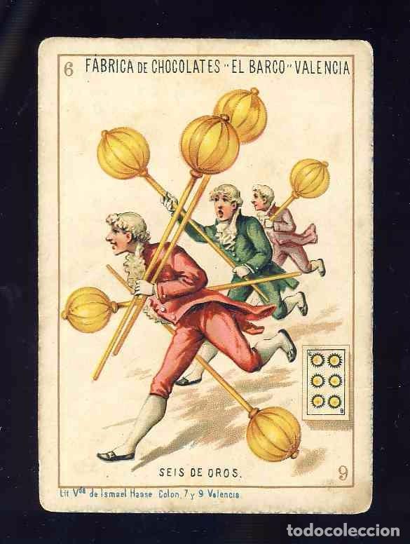 BARAJA DE CHOCOLATES EL BARCO, GRANDE: 6 DE OROS (Juguetes y Juegos - Cartas y Naipes - Baraja Española)