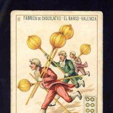 Barajas de cartas: BARAJA DE CHOCOLATES EL BARCO, GRANDE: 6 DE OROS. Lote 100357743