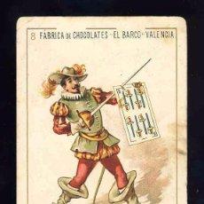 Barajas de cartas: BARAJA DE CHOCOLATES EL BARCO, GRANDE: 8 DE ESPADAS. ESPADACHIN. Lote 100359423