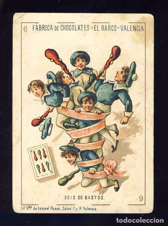 BARAJA DE CHOCOLATES EL BARCO, GRANDE: 6 DE BASTOS (Juguetes y Juegos - Cartas y Naipes - Baraja Española)