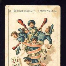 Barajas de cartas: BARAJA DE CHOCOLATES EL BARCO, GRANDE: 6 DE BASTOS. Lote 100359487