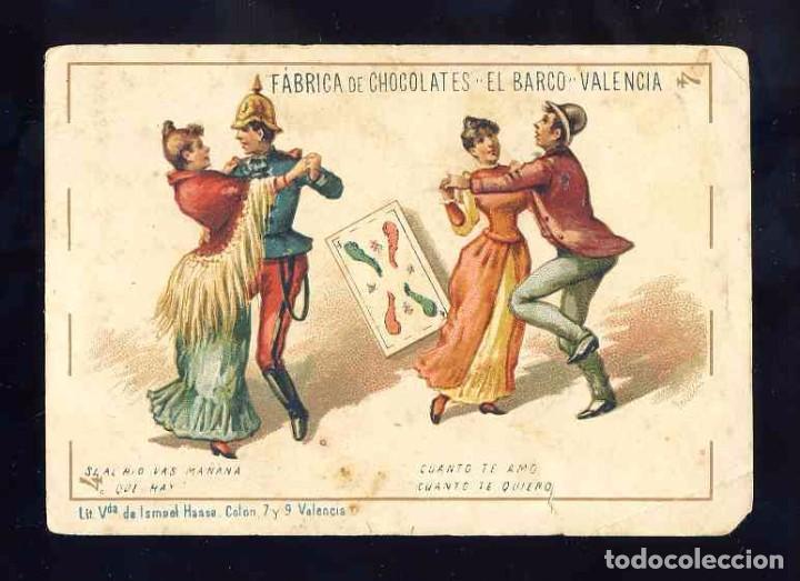 BARAJA DE CHOCOLATES EL BARCO, GRANDE: 4 DE BASTOS. BAILE (Juguetes y Juegos - Cartas y Naipes - Baraja Española)