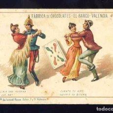 Barajas de cartas: BARAJA DE CHOCOLATES EL BARCO, GRANDE: 4 DE BASTOS. BAILE. Lote 100359579