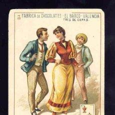 Barajas de cartas: BARAJA DE CHOCOLATES EL BARCO, GRANDE: 3 DE COPAS. Lote 100359643