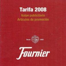 Barajas de cartas: CATÁLOGO DE TARIFAS. HERACLIO FOURNIER. BARAJAS. NAIPES. CALENDARIOS. ACCESORIOS. AÑO 2008 . Lote 101149167