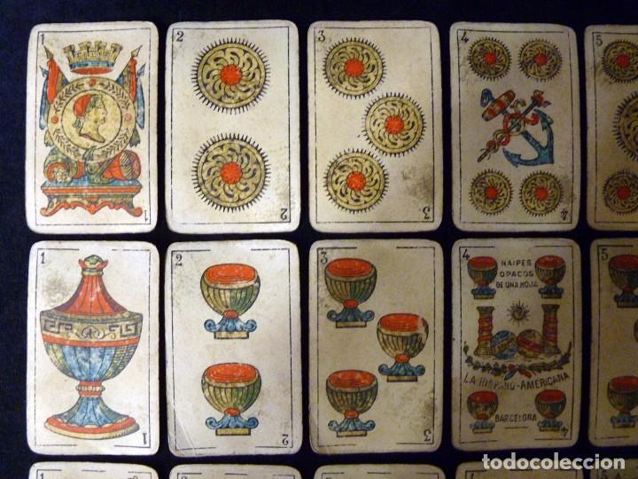 Barajas de cartas: ANTIGUA BARAJA JUAN ROURA. LA HISPANO-AMERICANA. BARCELONA. 40 NAIPES. REPÚBLICA. CIRCA 1932. USADA - Foto 5 - 101935967