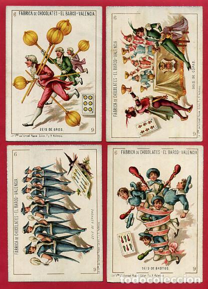 Barajas de cartas: BARAJA CHOCOLATES EL BARCO, LA GRANDE, COMPLETA , 48 NAIPES 8 X 11,5 CMS. CROMOLITOGRAFICA ANTIGUA - Foto 8 - 103499159