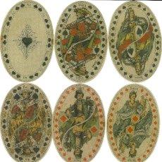 Barajas de cartas: ANTIGUA BARAJA OVALADA - ALEMANIA SIGLO XIX (1860) - NUEVA - CERTIFICADO COLECCION FOURNIER. Lote 156708078