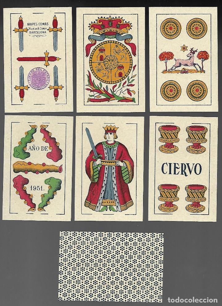 BARAJA EL CIERVO 1951, HIJA DE A. COMAS, T. EXPORTACION. 40 CARTAS, SIN INDICES. SIN ESTRENAR. (Juguetes y Juegos - Cartas y Naipes - Baraja Española)
