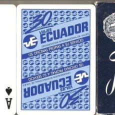 Barajas de cartas: BARAJA, VIAJES ECUADOR, POKER, FOURNIER, NUEVA, SIN PRECINTAR. Lote 108803455