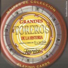Barajas de cartas: BARAJA, GRANDES TOREROS DE LA HISTORIA, DIBUJOS ESCACENA, FOURNIER, LATA METÁLICA, NUEVA, PRECINTADA. Lote 109028287