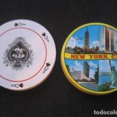 Barajas de cartas: BARAJA REDONDA POKER. NEW YORK CITY. TORRES GEMELAS, EMPIRE STATE, ESTATUA LIBERTAD. Lote 109101719