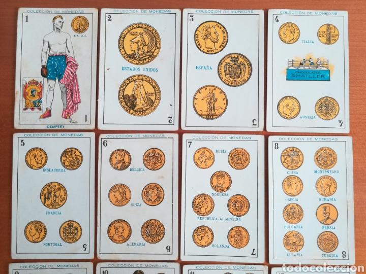 Barajas de cartas: Baraja española Chocolates Amatller Colección de monedas boxeo - palo de oros - Foto 2 - 109476699