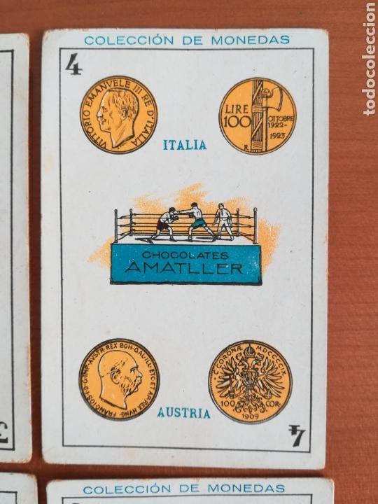 Barajas de cartas: Baraja española Chocolates Amatller Colección de monedas boxeo - palo de oros - Foto 5 - 109476699
