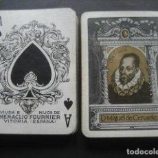 Barajas de cartas: ANTIGUA BARAJA POKER MIGUEL DE CERVANTES 1547-1616. VIUDA E HIJOS DE HERACLIO FOURNIER. Lote 110752995