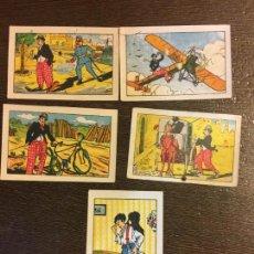 Muy antigua baraja de cartas. 5 naipes AVENTURAS DE CHARLOT.Chocolates Torras i Tremoleda. Bañolas