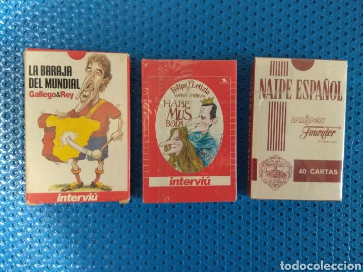 LOTE DE TRES BARAJAS A ESTRENAR, FOURNIER (1) E INTERVIU (2), BARAJA DEL MUNDIAL, HABEMUS MODA... (Juguetes y Juegos - Cartas y Naipes - Otras Barajas)