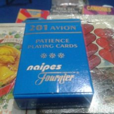 Barajas de cartas: FOURNIER NAIPES, BARAJA, CARTAS ( 201 AVION PATIENCE PLAYING CARDS ) COMPLETA PLASTIC COATED. Lote 112537619