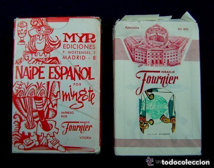 RARA BARAJA FOURNIER MINGOTE. PRIMER MODELO.NAIPE ESPAÑOL. 1968.TIMBRE VERDE 5 ESPADAS.SIN USAR. MYR (Juguetes y Juegos - Cartas y Naipes - Baraja Española)